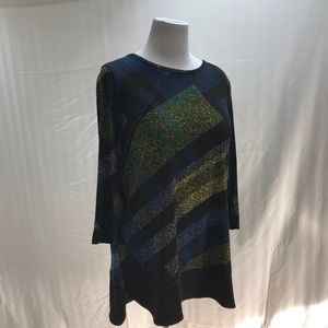 Blue and green tunic in carefree knit fabric